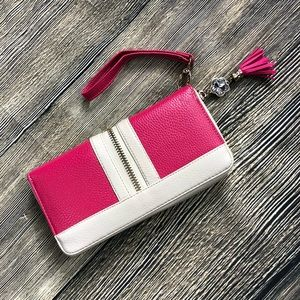 Pink Wallet with Wristlet Strap
